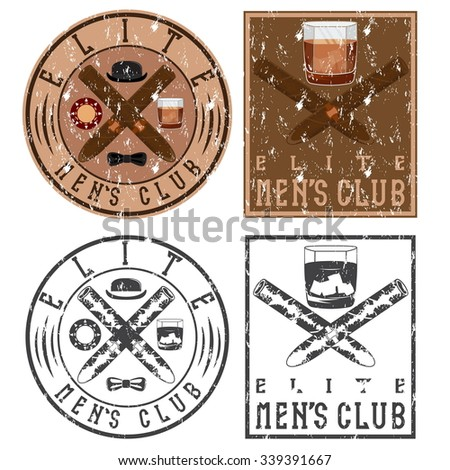 men's club vintage grunge labels with cigars and whiskey glass - stock vector