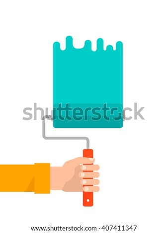 Men's hand holds a paint roller with a green color. Interior design, repair concept. Isolated vector illustration flat design. Vertical banner - stock vector