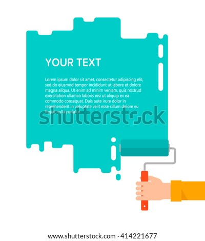 Men's hand holds a paint roller with a green color. Interior design, repair concept. Isolated vector illustration flat design. Blank template for your text - stock vector