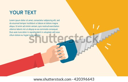Men's hand holds a saw. Construction, carpentry, repair concept. Isolated vector illustration flat design. Template for your text - stock vector