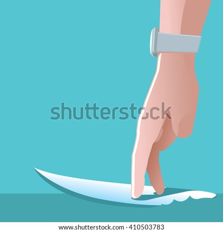 Men`s hand playing with toy surfboard. Surfing concept. Vector illustration - stock vector
