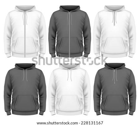 Men's hoodie design templates.  Photo-realistic vector illustration contains gradient mesh. - stock vector