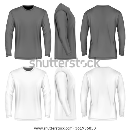 Men's long sleeve t-shirt (front, side and back views). Vector illustration. Fully editable handmade mesh. Black and white variants. - stock vector