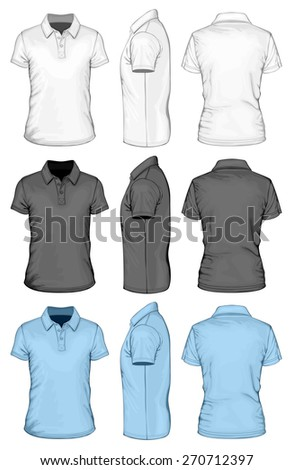 Men's short sleeve polo-shirt. Front, side and back views. Vector illustration. - stock vector