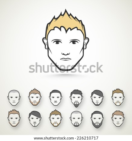 Men's style (hairstyle and beard), eps 10 - stock vector