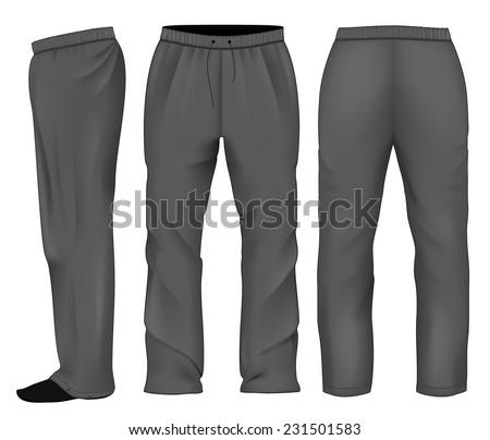 Men's sweatpants black. Vector illustration. - stock vector