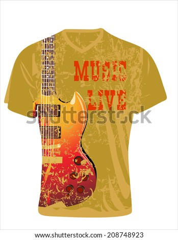 Men's t-shirt design template. Electric guitar on a grunge background - stock vector