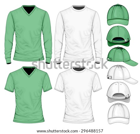 Men's t-shirt long and short sleeve and baseball caps.  Vector illustration. - stock vector