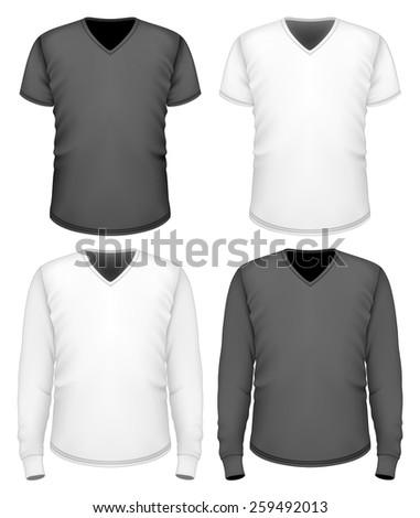 Men's t-shirt v-neck short and long sleeve. Vector illustration. - stock vector