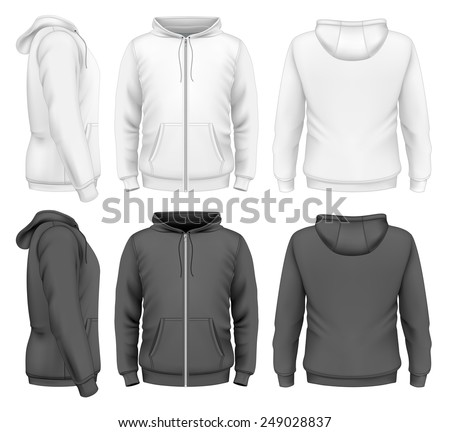 Men's zip hoodie white and black design templates (front view, back and side views). Photo-realistic vector illustration.  - stock vector