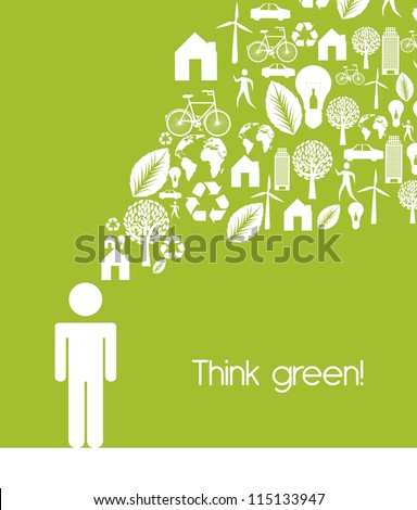 men sign with ecology icons, think green. vector illustration - stock vector
