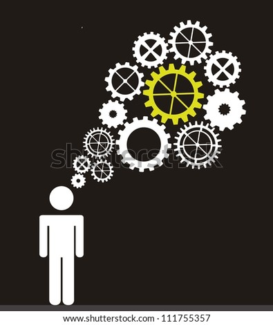 men sign with gears over black background. vector illustration - stock vector