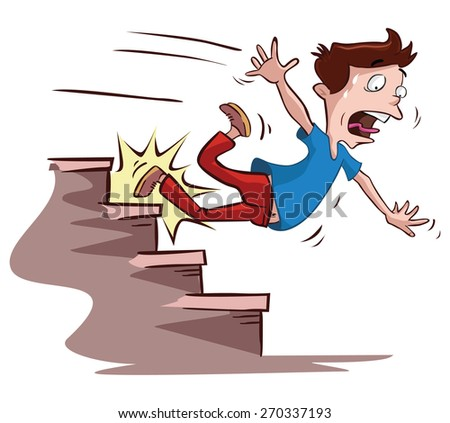 men slipped on the stairs - stock vector