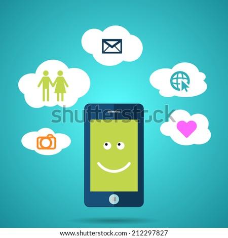 Men smart phone concept. - stock vector