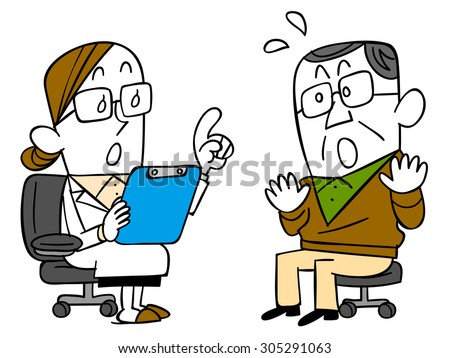 Men surprised to note from the doctor - stock vector