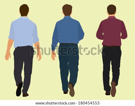 Men Walking Away - stock vector