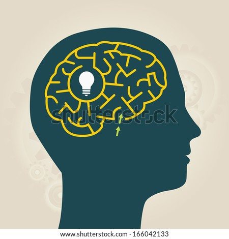 men with idea in mental labyrinth - stock vector