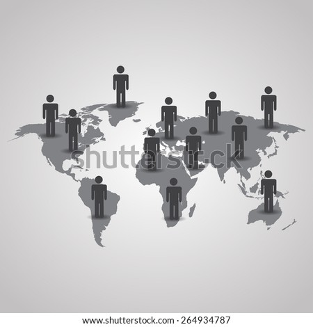 Men with shadow on the world map vector illustration on gray background - stock vector