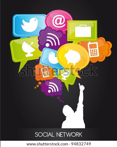 men with  thought bubble with social network sign . vector - stock vector