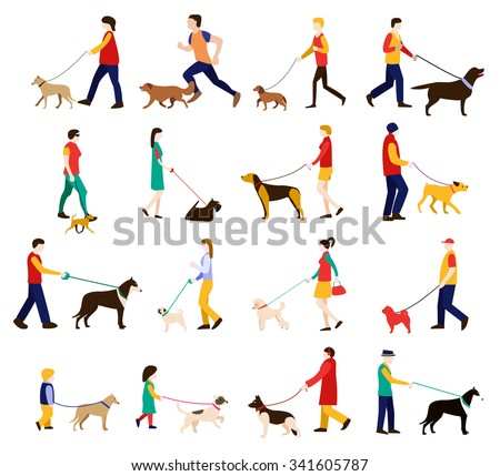 Men, women and children in casual clothes walking the dogs of different breeds, active people, leisure time, dog lovers, dog show, dog training. Dog trainer. Dog obedience. Set of isolated flat icons. - stock vector