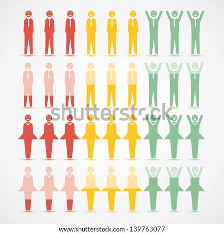 Men Women infographic mood vector illustration - stock vector