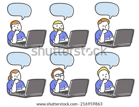 Men work and think on the computer hand drawn - stock vector
