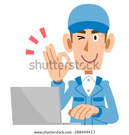 Men work clothes to issue a sign of OK and laptop - stock vector