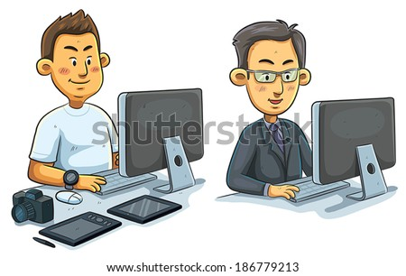 Men Working on Computer - stock vector