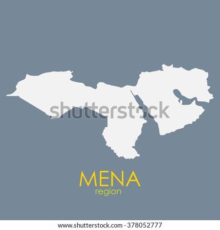 Mena Region Map Vector Illustration EPS10 - stock vector