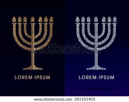 Menorah Israel candle , design using gold and silver geometric shape, graphic vector. - stock vector