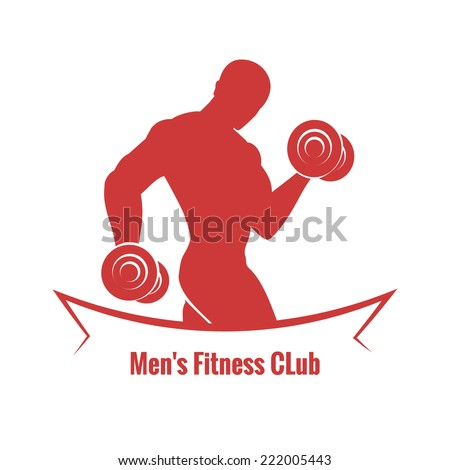 Mens Fitness Club logo with the silhouette of a muscular male bodybuilder working out with weights above the text in a grey and white vector illustration - stock vector