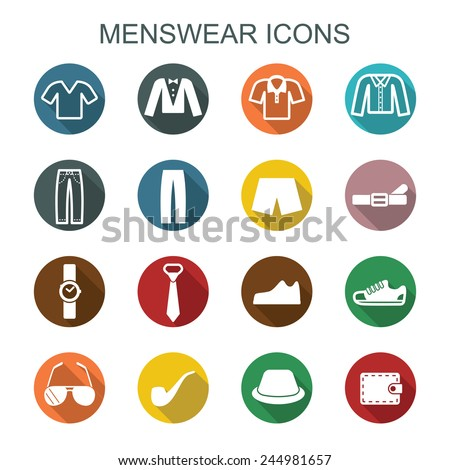 menswear long shadow icons, flat vector symbols - stock vector