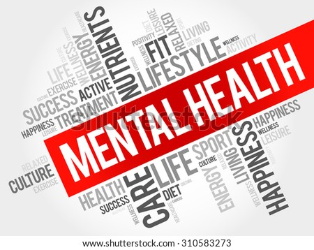 Mental health word cloud, health concept - stock vector