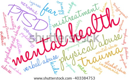 Mental Health word cloud on a white background.  - stock vector
