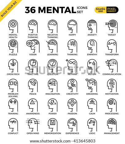 Mental & Mind pixel perfect outline icons modern style for website or print illustration - stock vector
