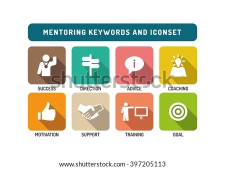Mentoring Flat Icon Set - stock vector
