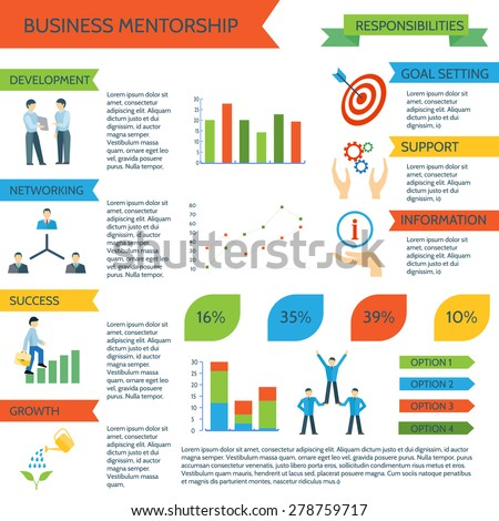 Mentoring infographics set with personal sports and business motivate management vector illustration - stock vector