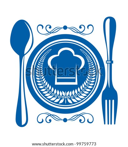 Menu and restaurant symbol, such  a logo. Jpeg version also available in gallery - stock vector