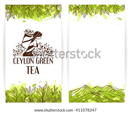 Menu banner template with ceylon green tea picker logo. - stock vector