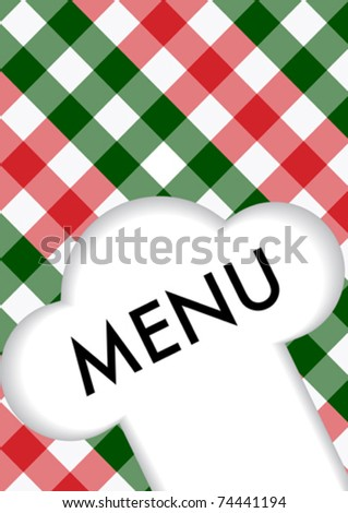 Menu Card Design - Menu Sign and Chef's Hat Symbol on Red and Green Gingham Texture - stock vector