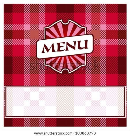 Menu Card Design template red cells tablecloth - stock vector