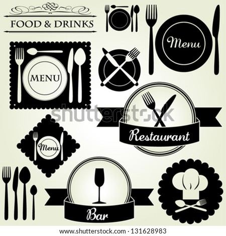Menu Design Labels Set for Restaurants and Bars - vector eps10 - stock vector
