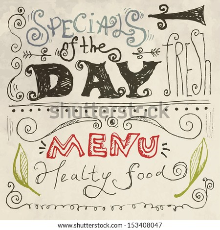 Menu drawing with chalk on a blackboard vector. Chalk lettering - stock vector