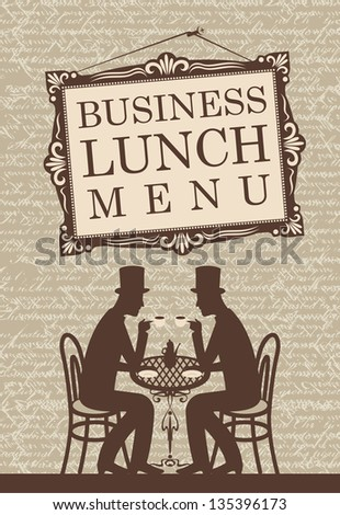 Menu for business lunch, talking with two gentlemen - stock vector