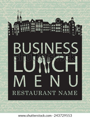 menu for business lunches with the old town - stock vector