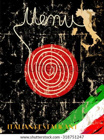 Menu for Italian restaurant, fictional artwork, free copy space - stock vector