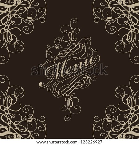menu for the restaurant with a flourish - stock vector
