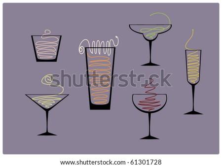 menu glasses - stock vector