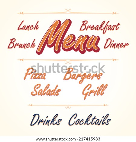Menu headlines, hand lettering vector set - stock vector