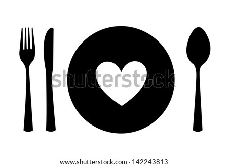 menu heart over white background vector illustration - stock vector